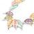 Matt Pastel Multicoloured Enamel Leaf Necklace and Drop Earrings Set In Light Silver Tone Metal - 45cm L/ 7cm Ext - view 8