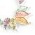 Matt Pastel Multicoloured Enamel Leaf Necklace and Drop Earrings Set In Light Silver Tone Metal - 45cm L/ 7cm Ext - view 4