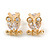 Tiny Clear CZ Owl Pendant with Snake Type Chain & Stud Earrings Set In Gold Tone - 42cm L/ 6cm Ext - view 3