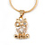 Tiny Clear CZ Owl Pendant with Snake Type Chain & Stud Earrings Set In Gold Tone - 42cm L/ 6cm Ext - view 6