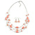 Multistrand Light Pink Glass and Ceramic Bead Wire Necklace & Drop Earrings Set - 48cm L/ 5cm Ext - view 4