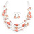 Multistrand Light Pink Glass and Ceramic Bead Wire Necklace & Drop Earrings Set - 48cm L/ 5cm Ext