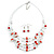 Romantic Multistrand Layered Glass/ Ceramic Beaded Necklace and Drop Earrings Set (White, Red) - 50cm L/ 5cm Ext - view 7