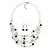 Romantic Multistrand Layered Glass/ Ceramic Beaded Necklace and Drop Earrings Set (White, Black) - 50cm L/ 5cm Ext - view 4