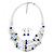Romantic Multistrand Layered Glass/ Ceramic Beaded Necklace and Drop Earrings Set (White, Blue) - 50cm L/ 5cm Ext - view 2