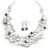 Romantic Multistrand Layered Beaded Necklace and Drop Earrings Set (White, Lilac) - 50cm L/ 4cm Ext