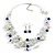 Romantic Multistrand Layered Beaded Necklace and Drop Earrings Set (White, Blue) - 50cm L/ 4cm Ext - view 4