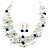 Romantic Multistrand Layered Beaded Necklace and Drop Earrings Set (White, Blue) - 50cm L/ 4cm Ext