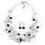 Romantic Multistrand Layered Beaded Necklace and Drop Earrings Set (White, Black) - 50cm L/ 4cm Ext - view 4