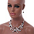 Romantic Multistrand Layered Beaded Necklace and Drop Earrings Set (White, Black) - 50cm L/ 4cm Ext - view 2