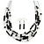 Multistrand Black Glass Bead Wire Necklace & Drop Earrings Set - 48cm Length/ 5cm Extension - view 4