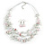 Romantic Multistrand Layered Beaded Necklace and Drop Earrings Set (White, Pastel Pink) - 50cm L/ 4cm Ext - view 6