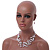 Romantic Multistrand Layered Beaded Necklace and Drop Earrings Set (White, Pastel Pink) - 50cm L/ 4cm Ext - view 9