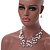 Romantic Multistrand Layered Beaded Necklace and Drop Earrings Set (White, Pastel Pink) - 50cm L/ 4cm Ext - view 2