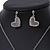 Romantic Crystal Heart Pendant and Drop Earrings In Silver Tone Metal - 40cm/ 4cm Ext - view 7
