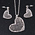 Romantic Crystal Heart Pendant and Drop Earrings In Silver Tone Metal - 40cm/ 4cm Ext - view 3
