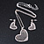 Romantic Crystal Heart Pendant and Drop Earrings In Silver Tone Metal - 40cm/ 4cm Ext - view 4