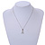 Clear Crystal Breast Cancer Awareness Ribbon Pendant and 4 Pairs of Stud Earrings Set In Sivler Tone - view 8