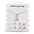 Clear Crystal Breast Cancer Awareness Ribbon Pendant and 4 Pairs of Stud Earrings Set In Sivler Tone - view 2
