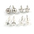 Clear Crystal Breast Cancer Awareness Ribbon Pendant and 4 Pairs of Stud Earrings Set In Sivler Tone - view 3