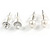 Clear Crystal Breast Cancer Awareness Ribbon Pendant and 4 Pairs of Stud Earrings Set In Sivler Tone - view 4