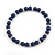 6mm Dark Blue Ceramic Bead Necklace, Flex Bracelet & Drop Earrings With Crystal Ring Set In Silver Tone - 42cm L/ 4cm Ext - view 10