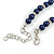6mm Dark Blue Ceramic Bead Necklace, Flex Bracelet & Drop Earrings With Crystal Ring Set In Silver Tone - 42cm L/ 4cm Ext - view 7
