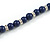 6mm Dark Blue Ceramic Bead Necklace, Flex Bracelet & Drop Earrings With Crystal Ring Set In Silver Tone - 42cm L/ 4cm Ext - view 5