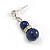 6mm Dark Blue Ceramic Bead Necklace, Flex Bracelet & Drop Earrings With Crystal Ring Set In Silver Tone - 42cm L/ 4cm Ext - view 6