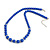 Royal Blue Ceramic Bead Necklace, Flex Bracelet & Drop Earrings With Crystal Ring Set In Silver Tone - 48cm L/ 6cm Ext - view 8