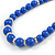 Royal Blue Ceramic Bead Necklace, Flex Bracelet & Drop Earrings With Crystal Ring Set In Silver Tone - 48cm L/ 6cm Ext - view 9