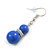 Royal Blue Ceramic Bead Necklace, Flex Bracelet & Drop Earrings With Crystal Ring Set In Silver Tone - 48cm L/ 6cm Ext - view 6