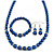 Inky Blue Glass Bead Necklace, Flex Bracelet & Drop Earrings With Crystal Ring Set In Silver Tone - 48cm L/ 6cm Ext - view 5