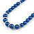 Inky Blue Glass Bead Necklace, Flex Bracelet & Drop Earrings With Crystal Ring Set In Silver Tone - 48cm L/ 6cm Ext - view 8
