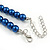 Inky Blue Glass Bead Necklace, Flex Bracelet & Drop Earrings With Crystal Ring Set In Silver Tone - 48cm L/ 6cm Ext - view 7