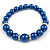 Inky Blue Glass Bead Necklace, Flex Bracelet & Drop Earrings With Crystal Ring Set In Silver Tone - 48cm L/ 6cm Ext - view 9