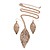 Vintage Inspired Textured Leaf Pendant and Drop Earrings Set In Aged Rose Gold Tone - 60cm L/ 7cm Ext - view 3