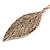 Vintage Inspired Textured Leaf Pendant and Drop Earrings Set In Aged Rose Gold Tone - 60cm L/ 7cm Ext - view 4