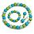 Pastel Mint/ Green/ Turquoise Wood Flex Necklace, Bracelet and Drop Earrings Set - 46cm L