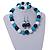 Dark Blue/ Turquoise/ White Wood Flex Necklace, Bracelet and Drop Earrings Set - 46cm L - view 2