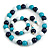 Dark Blue/ Turquoise/ White Wood Flex Necklace, Bracelet and Drop Earrings Set - 46cm L - view 1