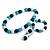 Dark Blue/ Turquoise/ White Wood Flex Necklace, Bracelet and Drop Earrings Set - 46cm L - view 7