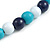 Dark Blue/ Turquoise/ White Wood Flex Necklace, Bracelet and Drop Earrings Set - 46cm L - view 6
