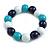 Dark Blue/ Turquoise/ White Wood Flex Necklace, Bracelet and Drop Earrings Set - 46cm L - view 8