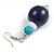 Dark Blue/ Turquoise/ White Wood Flex Necklace, Bracelet and Drop Earrings Set - 46cm L - view 5