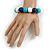 Dark Blue/ Turquoise/ White Wood Flex Necklace, Bracelet and Drop Earrings Set - 46cm L - view 4