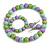 Pastel Mint/ Green/ Purple Wood Flex Necklace, Bracelet and Drop Earrings Set - 46cm L