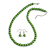 Pea Green Glass Bead Necklace & Drop Earring Set In Silver Metal - 38cm Length/ 4cm Extension