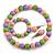 Pastel Pink/ Green/ Purple Wood Flex Necklace, Bracelet and Drop Earrings Set - 46cm L