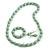 Mint Wood and Silver Acrylic Bead Necklace, Earrings, Bracelet Set - 70cm Long